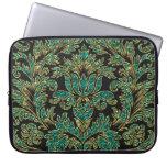 Black Blue-Green & Gold Vintage Floral Damasks Laptop Sleeve