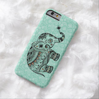Black & Blue-Green Retro Floral & Elephant Barely There iPhone 6 Case