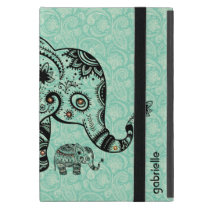 Black & Blue-Green Retro Floral & Elephant iPad Mini Cover