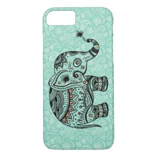 Black & Blue-Green Retro Floral & Elephant iPhone 8/7 Case