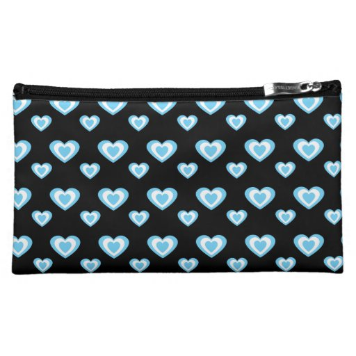 Black blue hearts cosmetic bag