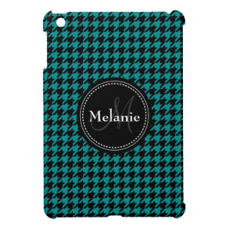 Black Blue Houndstooth Monogrammed Pattern iPad Mini Cases