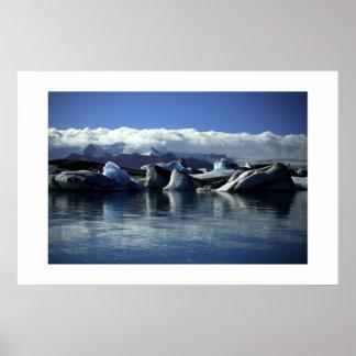 Black & Blue Icebergs, Iceland Poster