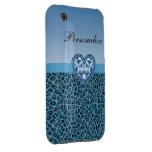 Black & Blue Leopard Print & Bling Heart iPhone 3 Cases