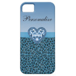 Black & Blue Leopard Print & Bling Heart iPhone 5 Covers