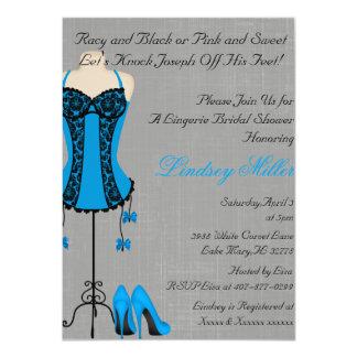 Black & Blue Lingerie Bridal Shower Invitation
