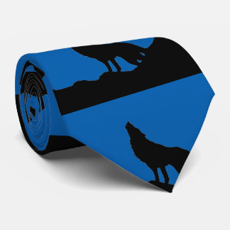 Black Blue Lone Wolf Standing on a Hill Silhouette Tie