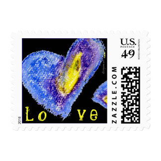 Black Blue Love Heart Square Small Postage
