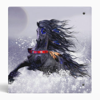 Black Blue Majestic Stallion Indian Horse in Snow 3 Ring Binder