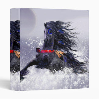 Black Blue Majestic Stallion Indian Horse in Snow Binder