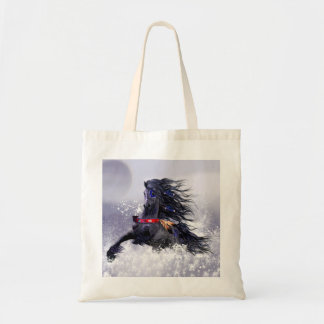 Black Blue Majestic Stallion Indian Horse in Snow Budget Tote Bag