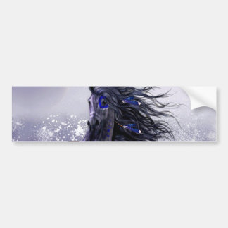 Black Blue Majestic Stallion Indian Horse in Snow Bumper Sticker
