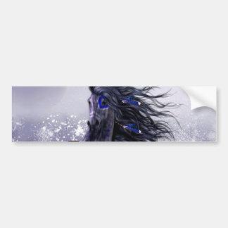 Black Blue Majestic Stallion Indian Horse in Snow Bumper Sticker