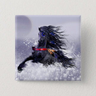 Black Blue Majestic Stallion Indian Horse in Snow Button
