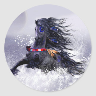 Black Blue Majestic Stallion Indian Horse in Snow Classic Round Sticker