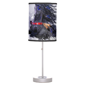 Black Blue Majestic Stallion Indian Horse in Snow Desk Lamp