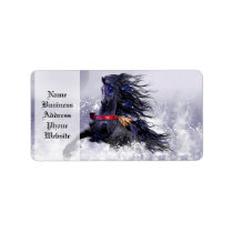 Black Blue Majestic Stallion Indian Horse in Snow Label