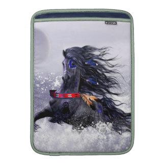 Black Blue Majestic Stallion Indian Horse in Snow MacBook Sleeve