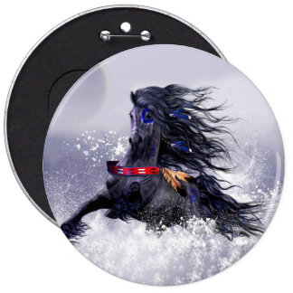 Black Blue Majestic Stallion Indian Horse in Snow Pinback Button