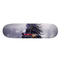 Black Blue Majestic Stallion Indian Horse in Snow Skateboard Deck