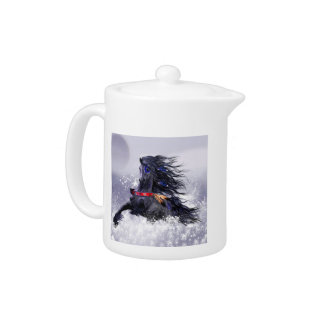 Black Blue Majestic Stallion Indian Horse in Snow Teapot