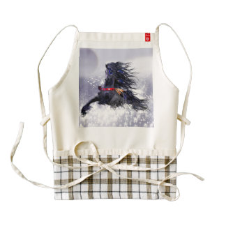 Black Blue Majestic Stallion Indian Horse in Snow Zazzle HEART Apron