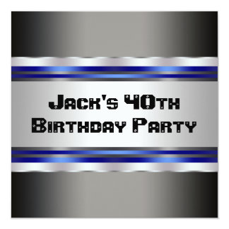 Black Blue Mans 40th Birthday Party Card