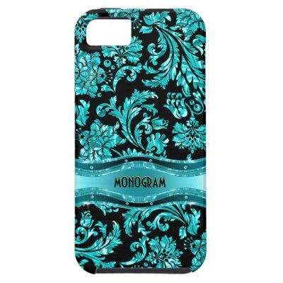 Black & Blue Metallic Floral Damasks-Customized iPhone SE/5/5s Case