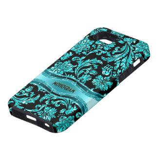 Black & Blue Metallic Floral Damasks-Customized iPhone SE/5/5s Case