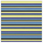 [ Thumbnail: Black, Blue, Midnight Blue, and Yellow Lines Fabric ]