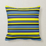 [ Thumbnail: Black, Blue, Midnight Blue, and Yellow Lines Throw Pillow ]