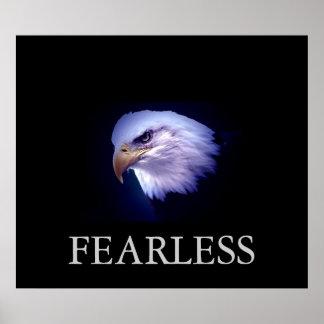 Black & Blue Motivational Fearless Eagle Poster