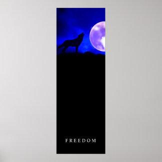 Black Blue Motivational Freedom Wolf Door Poster