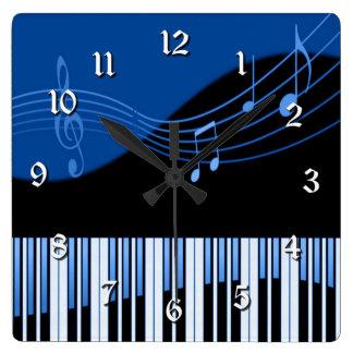Black & Blue Musical Melody Square Wall Clock