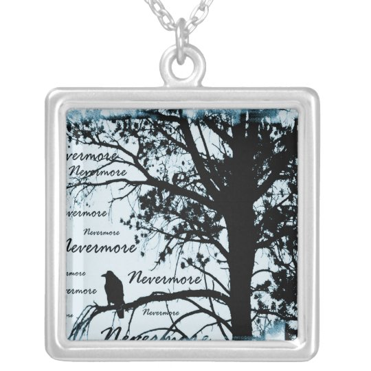 Black & Blue Nevermore Raven Silhouette Silver Plated Necklace