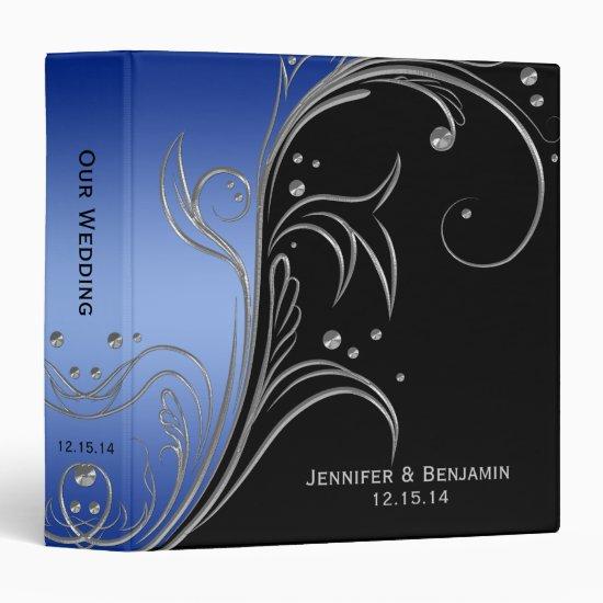 Black Blue Ombre Silver Floral Scrolls Photo Album Binder