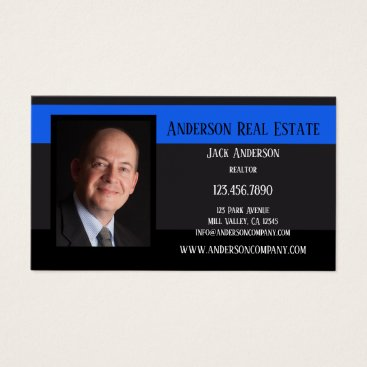Professional Business Black Blue Photo Professional Business Card