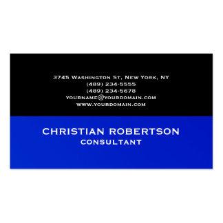 Black Blue Plain Modern Consultant Business Card