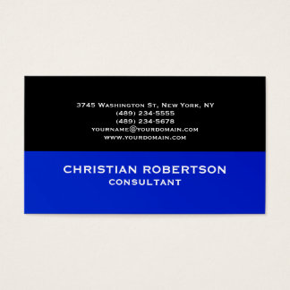 Black Blue Plain Modern Consultant Business Card
