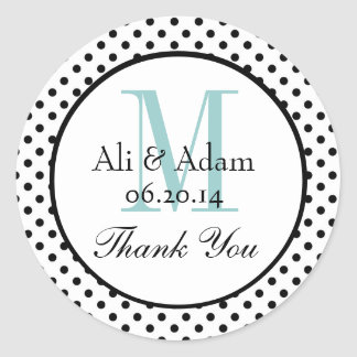 Black Blue Polka Dots Wedding Favor Thank You Classic Round Sticker