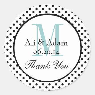 Black Blue Polka Dots Wedding Favor Thank You Classic Round Sticker