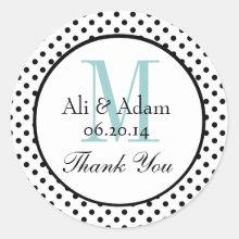 Black Blue Polka Dots Wedding Favor Thank You Sticker