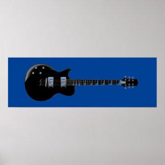 Black Blue Pop Art Electric Guitar Print