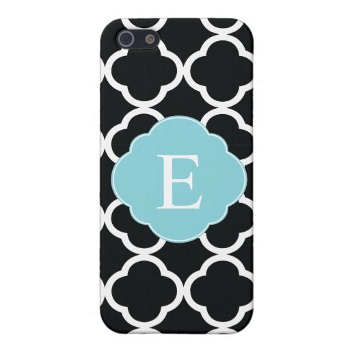 Black Blue Quatrefoil Monogram Case For iPhone SE/5/5s