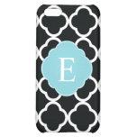 Black Blue Quatrefoil Monogram iPhone 5C Case