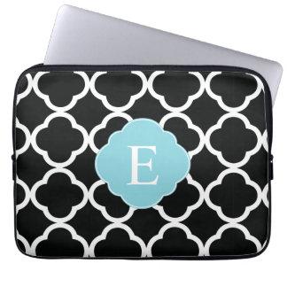 Black Blue Quatrefoil Monogram Laptop Sleeves