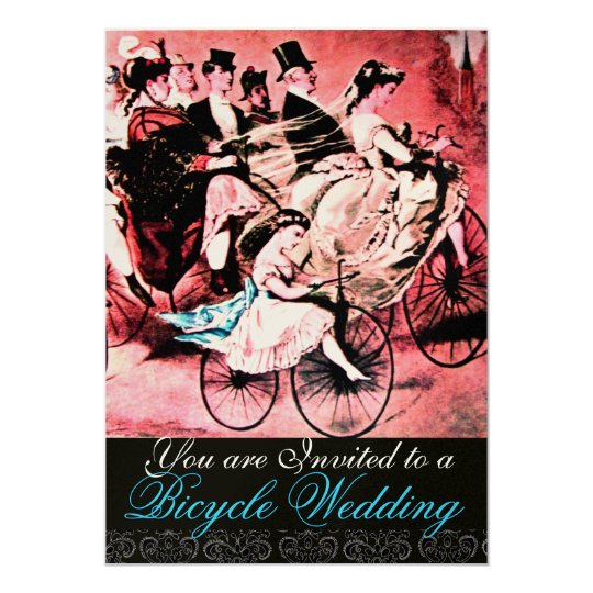 BLACK BLUE RED BICYCLE WEDDING DAMASK MONOGRAM CARD
