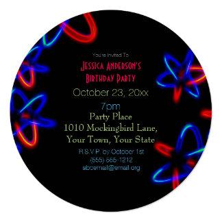 Black Blue Red Laser Neon Lights Birthday Card
