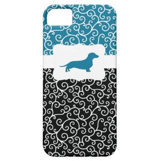 Black&Blue remolina w/Dachshund iPhone 5 Case-Mate Cobertura