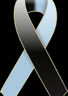 black blue ribbon awareness blank greeting card